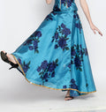 Ira Soleil Floral Printed Long Reversible Flared Skirt