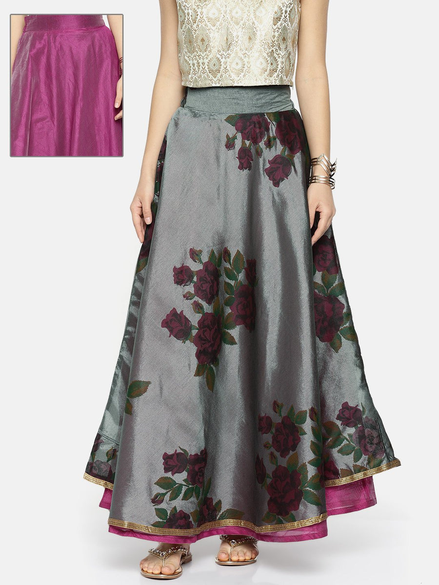 Ira Soleil Floral Print Flared Long Skirt