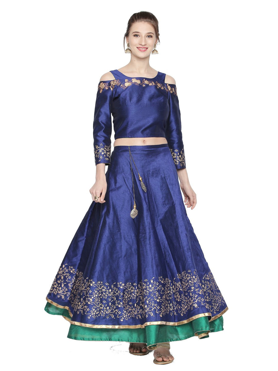 Blue Reversible Floor Length Skirt