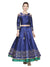 Blue Three-Fourth Sleeve Round Neck Reversible Top and Floor Length Skirt Set