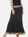 Ira Soleil Plain Black Flared Skirt