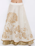 Embellished Floral Print Flared Long Reversible Skirt