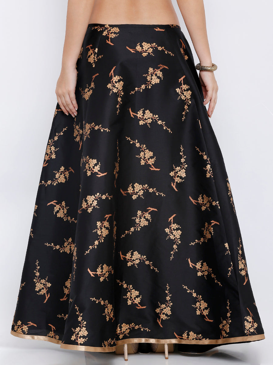 Ira Soleil Black Floral Print Long Skirt