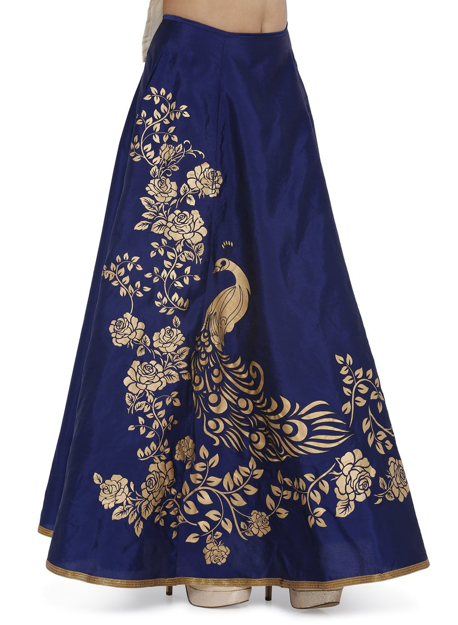 Blue Printed Floor Length Skirt