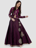 Ira Soleil Edgy Purple Long Skirt