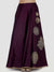 Ira Soleil Purple Floral Print Long Skirt