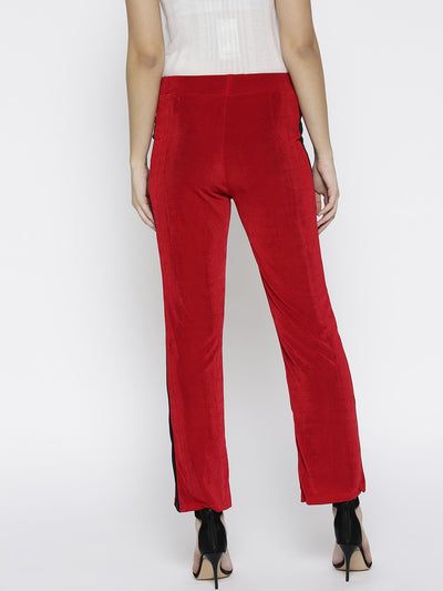Plain Red Bottom Fit Pant