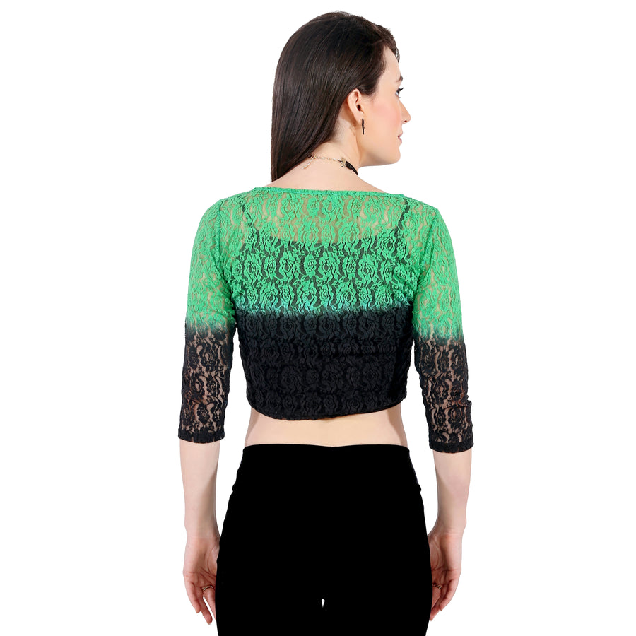 Ira Soleil Black-Green Ombre crop Top