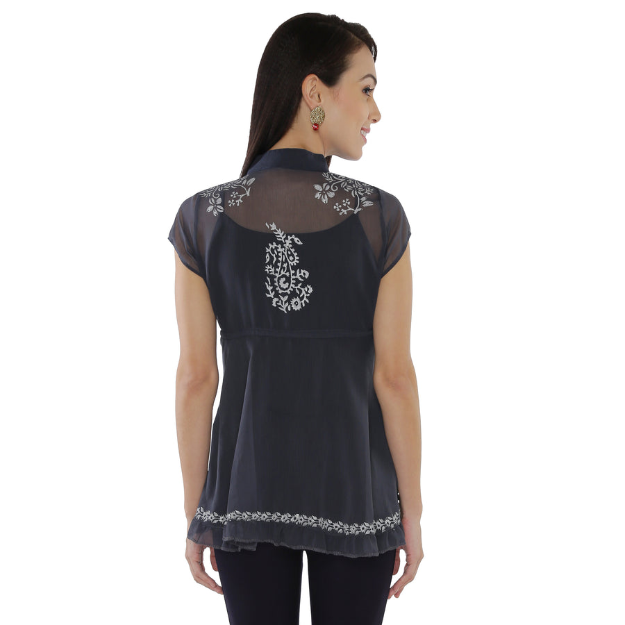 Ira Soleil Printed Illusion Tulle Cap Sleeve Flared Top