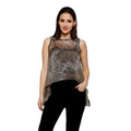 Printed Beige Sleeveless Round Neck Asymmetric Top