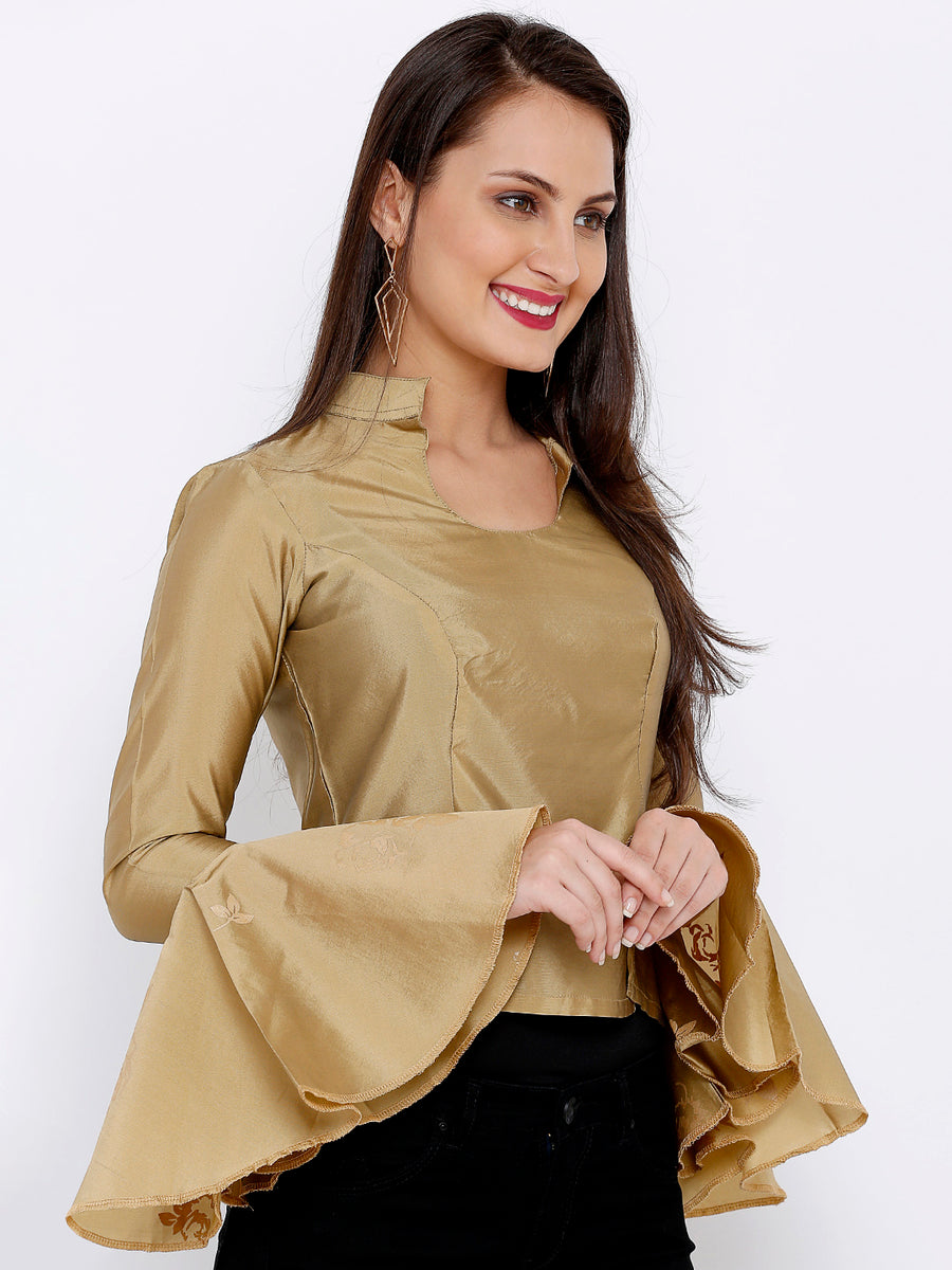 Ira Soleil Mandarin Neck Flared Sleeve Blouse Top