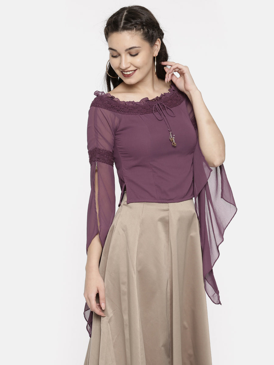 Ira Soleil Solid Womens purple Dupion Fashion Top