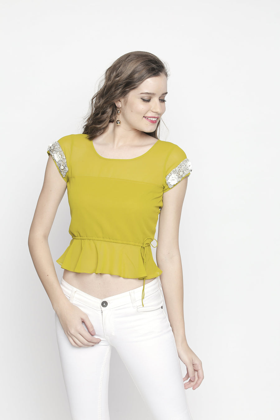 Plain Yellow Half Sleeve Round Neck Waist Length Top