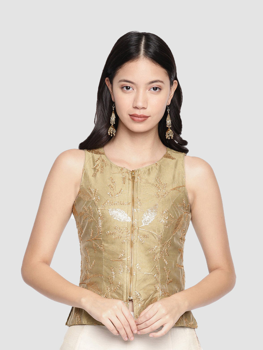 Ira Soleil Embellished Printed Sleeveless Blouse Top