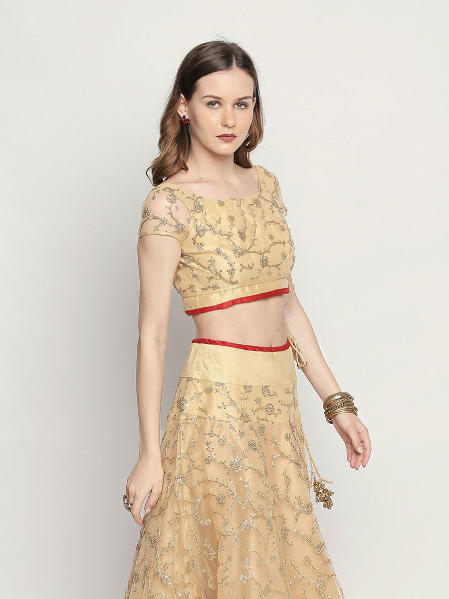 Embroidered golden Cap Sleeve Heart-Shape Neck Blouse