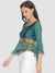 Ira Soleil Satin Taffeta Green Flared Sleeves Top