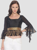 Ira Soleil Satin Taffeta Black Flared Sleeves Top