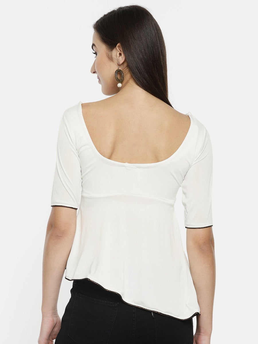 White Plain Elbow Sleeve Round Neck Top