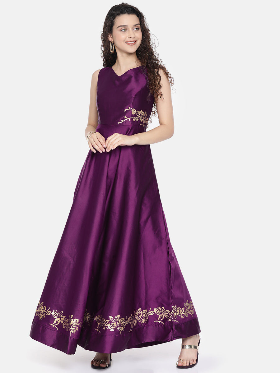 Ira Soleil Purple Embellished Reversible Long Gown Dress