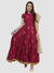 Ira Soleil Red Printed Mandarin Neck Anarkali kurti Set