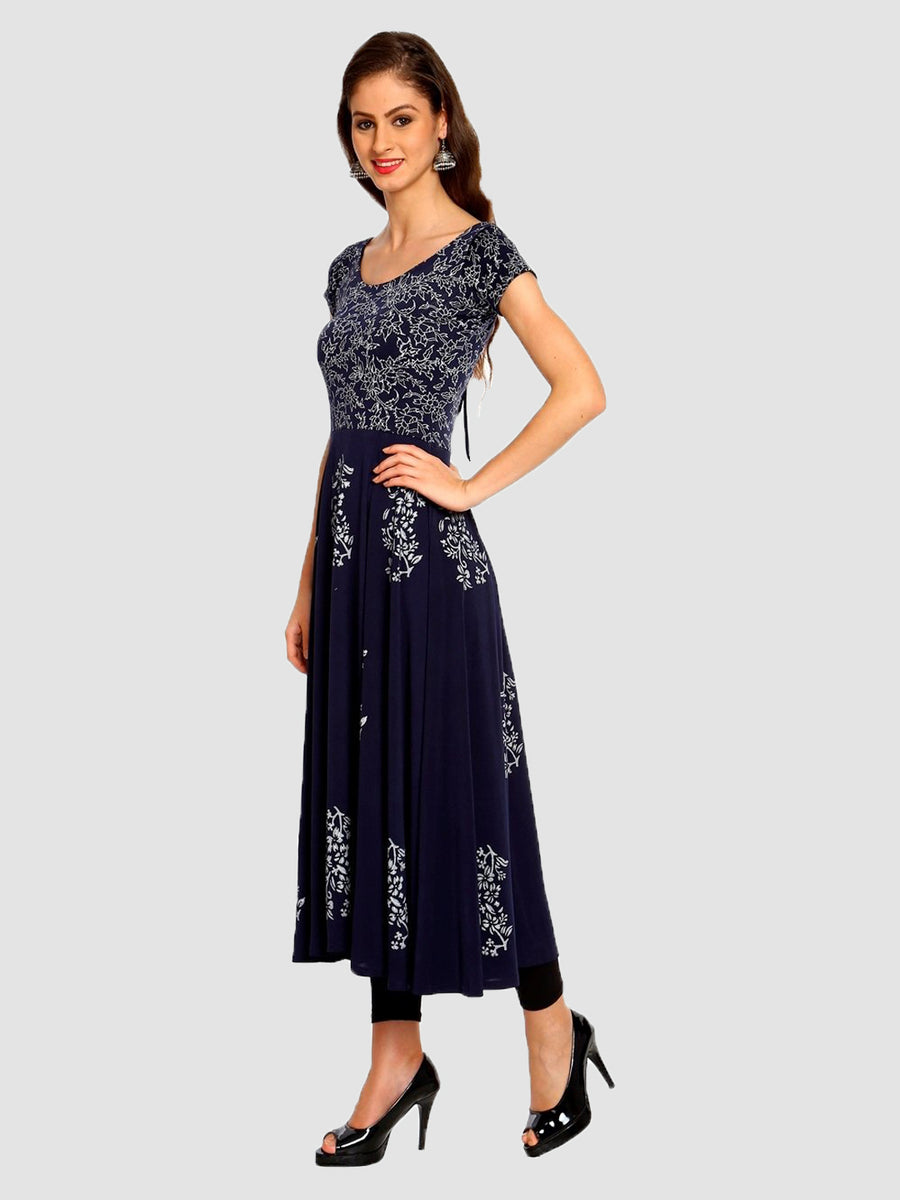 Printed Blue Half Sleeve Round Neck Calf Length Anarkali Kurti