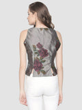Grey Floral Printed Sleeveless Round Neck Reversible Top