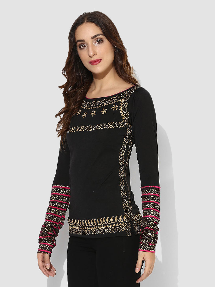 Ira Soleil Printed Full Sleeve Slim-Fit Top
