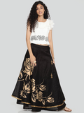 Ira Soleil Floral Printed Floor Length Flared Skirt