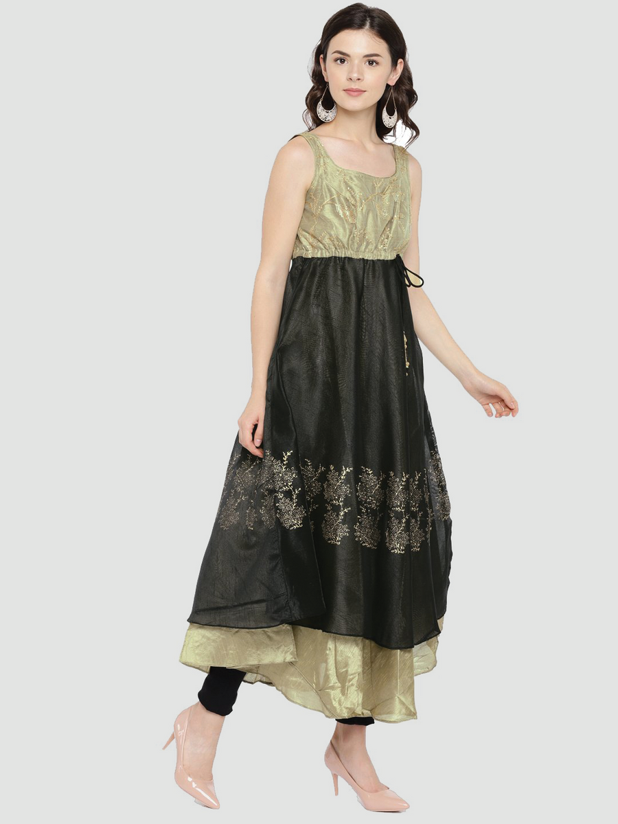 Gold Printed Sleeveless Round Neck Calf Length Anarkali Kurti