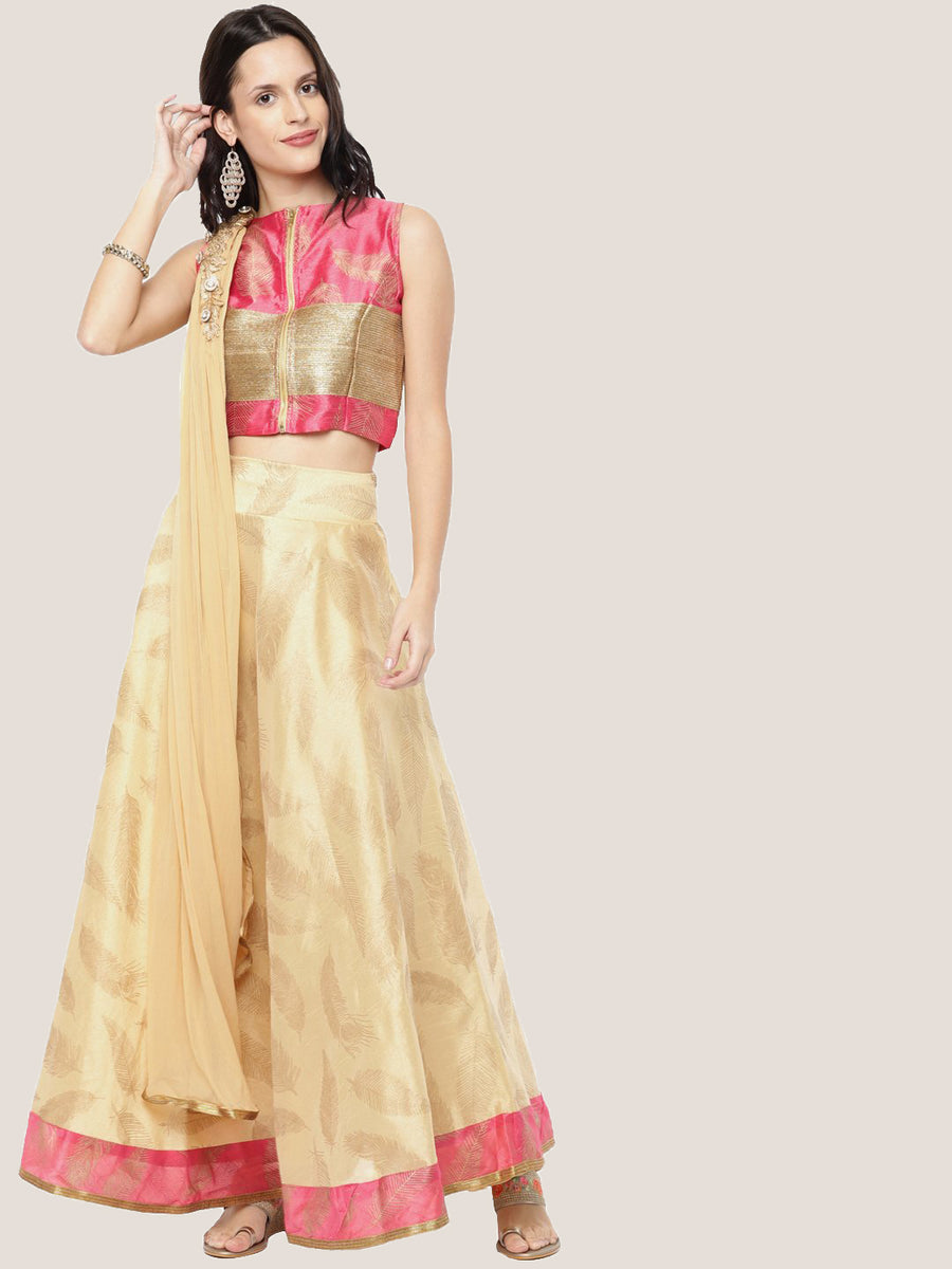 Printed Sleeveless Round Neck Blouse with Flared Lehenga Set