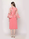 Ira Soleil Embroidered Illusion Tulle Dress with Jacket