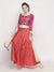 Embellished Printed Pink Three-Fourth Sleeve Reversible Lehenga Set