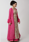 Ira Soleil Pink Illusion tulle Printed Long Shrug
