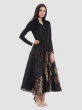 Plain Black Full Sleeve Round Neck Anarkali Kurti