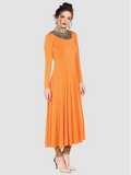 Plain Orange Full Sleeve Round Neck Straight Kurti