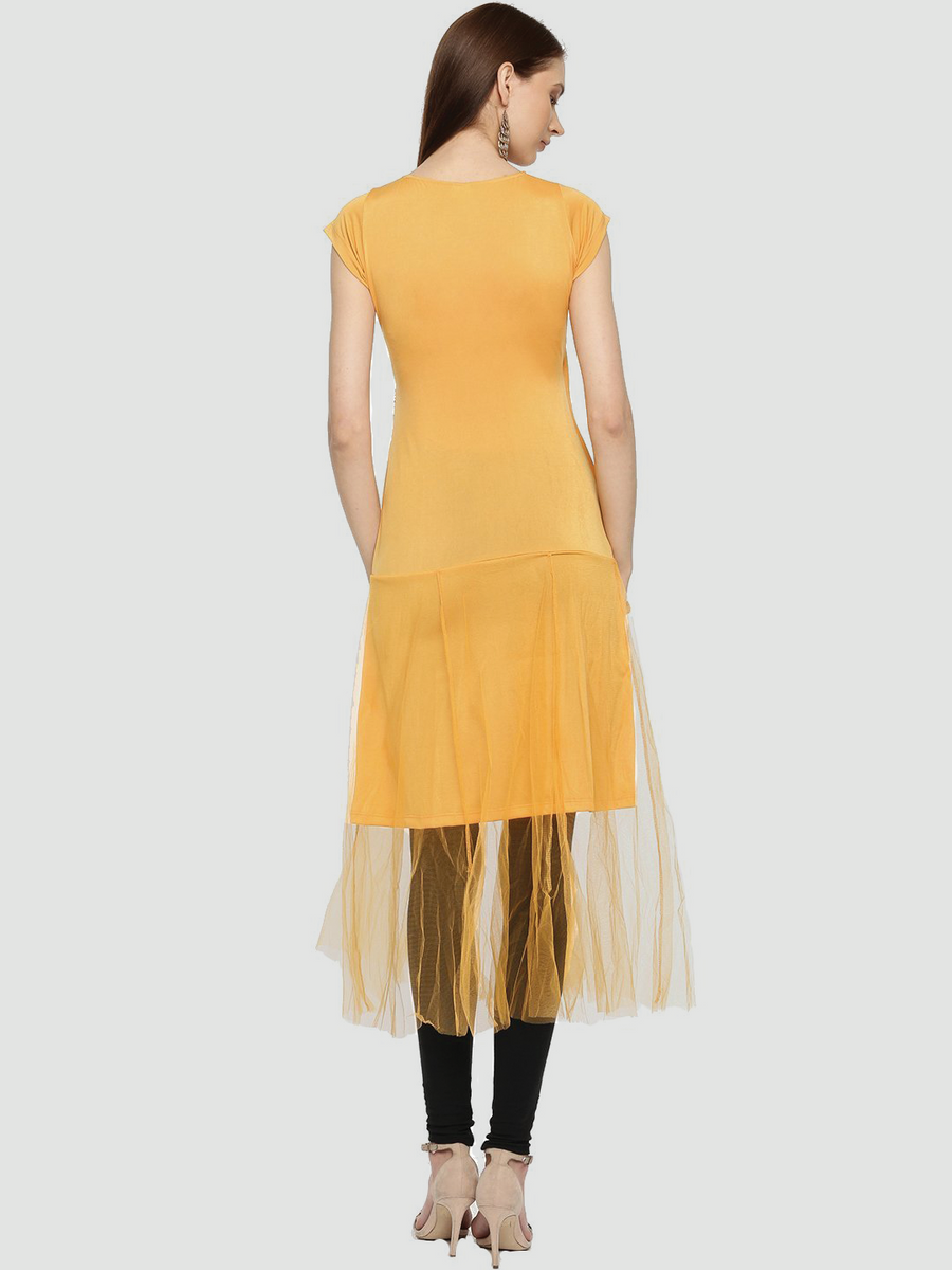Yellow Plain Sleeveless V-Neck Mid-Thigh Kurti