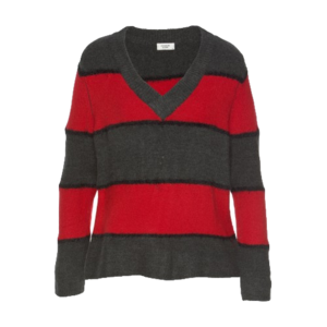 Stripe Knit Pullover rot/grau - Gluecksboutique®