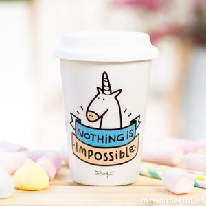 To Go Becher Porzellanbecher Einhorn Nothing is impossible - Gluecksboutique®