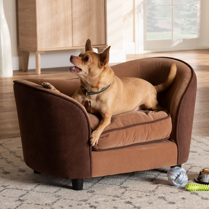 BAXTON STUDIO HAYES MODERN LIGHT BROWN AND DARK BROWN FABRIC UPHOLSTERED PET SOFA BED