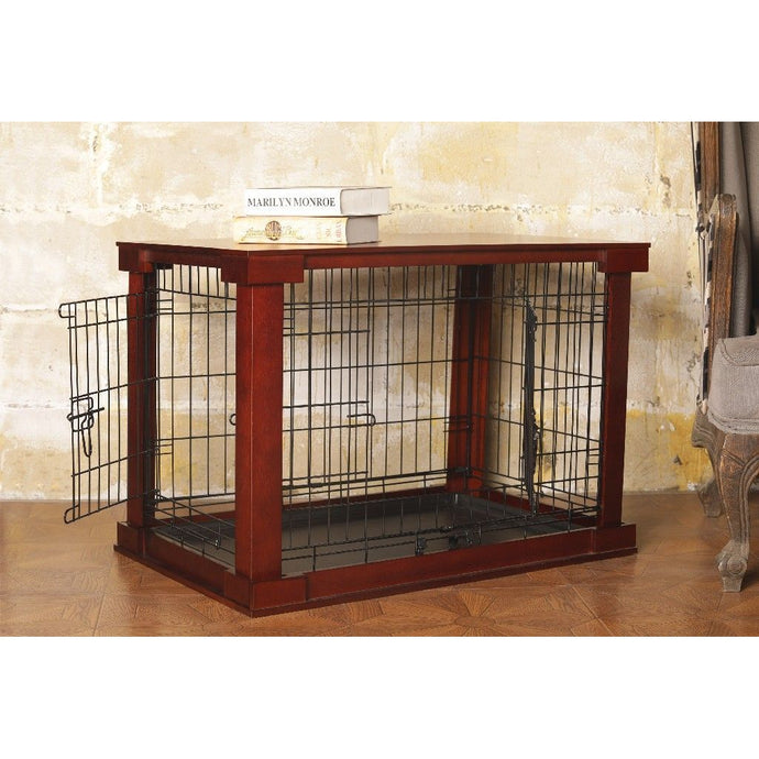 Merry Products Cage with Crate Cover, Mahogany, Medium -MPMC001