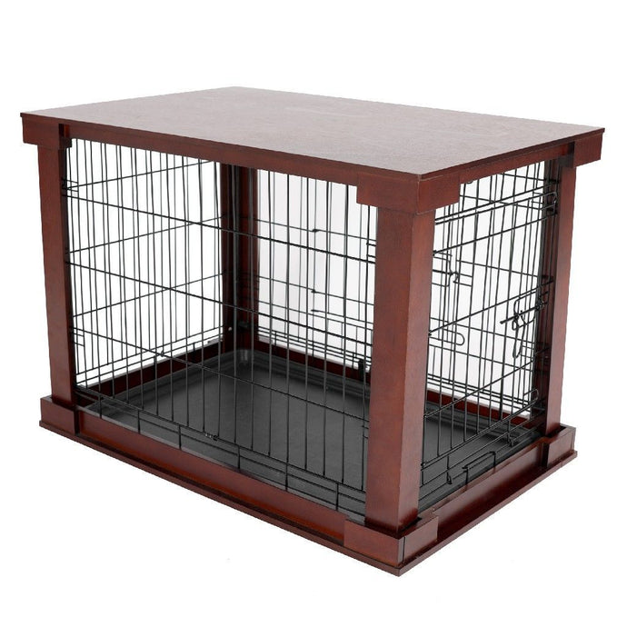 Merry Products Cage with Crate Cover, Mahogany, Large - MPLC001