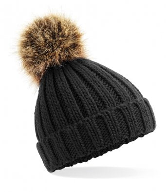 Personalised Black Knitted Pom Hat