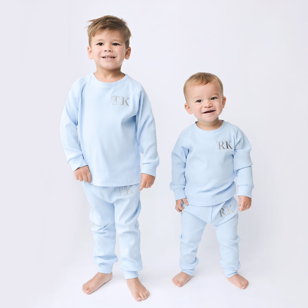 **SALE**Personalised New Pale Blue Ribbed Loungeset