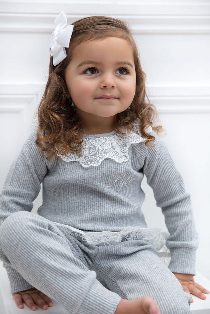 Girls Personalised Grey Lace Ribbed Loungeset