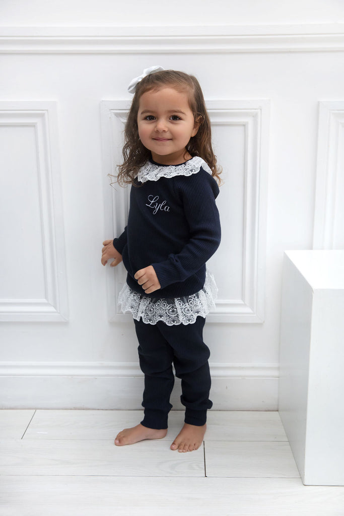 Girls Personalised Navy Ribbed Lace Loungeset