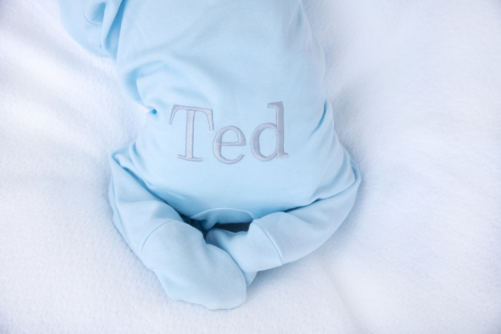 Personalised Blue babygrow