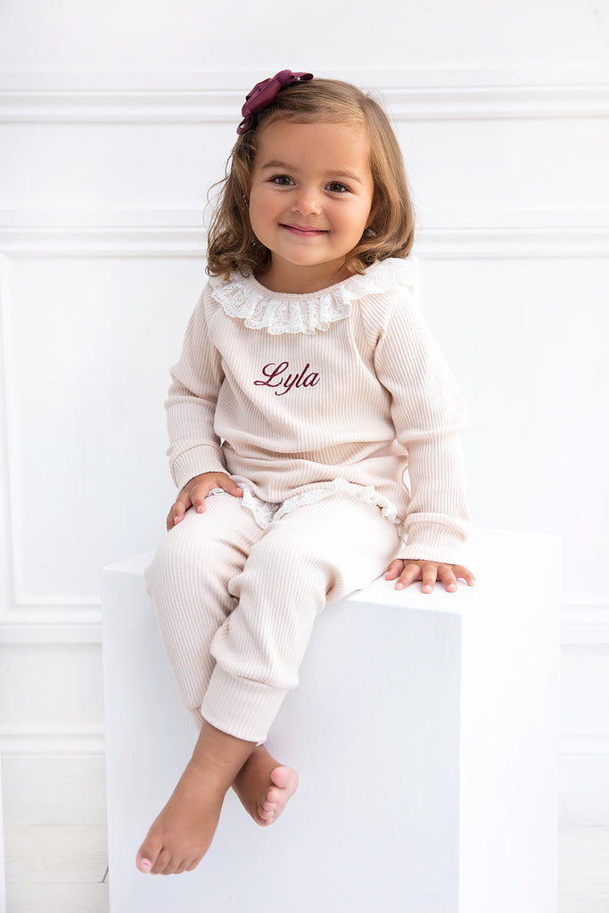 Girls Personalised Cream Ribbed Lace Loungeset