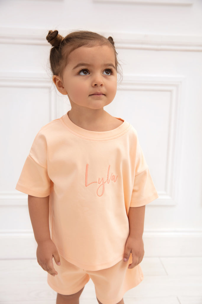 Personalised Peach Short Set