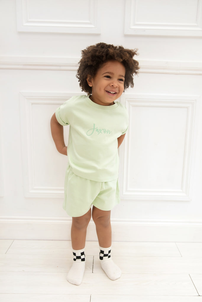 Personalised Pistachio Short Set