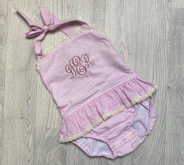 Estrella's Personalised Pink Seersucker Swimming Costume